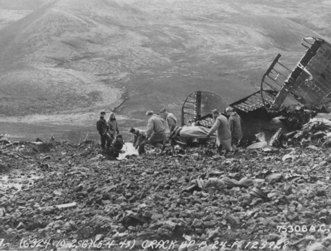 Crash site of the B-24 Liberator Hot Stuff on Mt. Fagradalsfjall, Grindavik, Iceland on May 4, 1943